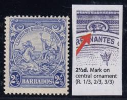 "Barbados, SG 251a, MLH ""Mark On Central Ornament"" Variety - Barbados (...-1966)"