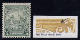 "Barbados, SG 248a, MLH ""Recut Line"" Variety - Barbados (...-1966)"