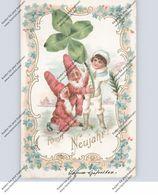 ZWERGE / Gnome / Dwarfs / Nani - Präge-Karte / Relief / Embossed, Kleeblatt, Englein - Cartes Postales