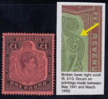 "Bermuda SG 121ce, MLH, ""Broken Lower Right Scroll"" Variety - Bermudes"