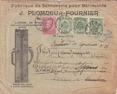 DDX 272 - Lettre Illustrée TP Armoiries 2 X 5 C LIEGE 1904 Vers Chateau De MOORSLEDE- Réaffranchie 15 C YPRES Pour PARIS - 1893-1800 Fijne Baard