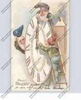ZWERGE / Gnome / Dwarfs / Nani - Zeppelin, Präge-Karte / Relief / Embossed, Uhr - Cartes Postales