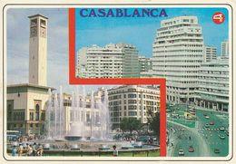 Carte Postale. Maroc. Casablanca. Fontaine Lumineuse. Horloge. Bâtiments Etat Moyen. Taches. - Monumentos