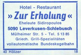 """1 Altes Gasthausetikett, Hotel – Restaurant """"Zur Erholung"""", Eheleute Sidiropoulos, 5090 Leverkusen-Schlebusch, #933a - Matchbox Labels"""
