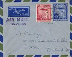 PAKISTAN -  Entier Postal  3 Annas  Pour LOME ( TOGOLAND ) 1957 Par AVION - Pakistan