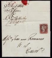 Great Britain, 1p Red 1844 KELSO Distinctive Maltese On Cover, Brandon Cert - Briefe U. Dokumente