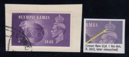 """Great Britain, SG 496a, Used On Piece """"Crown Flaw"""" Variety - 1902-1951 (Re)"""
