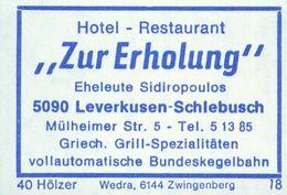 """1 Altes Gasthausetikett, Hotel – Restaurant """"Zur Erholung"""", Eheleute Sidiropoulos, 5090 Leverkusen-Schlebusch, #933b - Matchbox Labels"""
