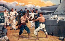 Boxe * Sport * Boxing On The Forecastle * Boxeurs Sur Un Bateau Navire De Guerre * CPA  * 1909 - Boxe