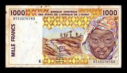 West African St. Senegal 1000 Francs 1997 Pick 711Kg BC+ F+ - Senegal