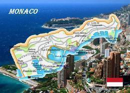 Monaco City-State Map New Postcard Landkarte AK - Otros