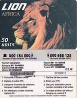 ITALY - Africa, Lion Prepaid Card 50 Units, Exp.date 31/08/03, Used - Italie