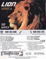 ITALY - Africa, Lion Prepaid Card 50 Units, Exp.date 10/02, Used - Italie