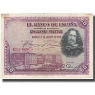 Billet, Espagne, 50 Pesetas, 1928, 1928-08-15, KM:75a, TB - [ 1] …-1931 : Premiers Billets (Banco De España)
