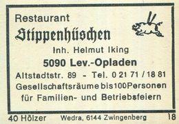 1 Altes Gasthausetikett, Restaurant Stippenhüschen, Inh. Helmut Iking, 5090 Leverkusen-Opladen, Altstadtstr. 89 #934b - Matchbox Labels
