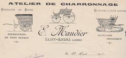 Facture Illustrée 1919 / E. MAUDIER / Charron / 10 Saint-André / Aube - France