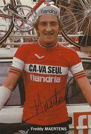CARTE CYCLISME FREDY MAERTENS SIGNEE TEAM CAVA SEUL 1979 - Cyclisme