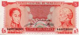 VENEZUELA 5 BOLIVARES 1989  P-70b  AUNC - Venezuela