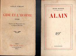 Lot 2 Livres éditions Gallimard De Henri Mondor Alain Et Etude De Goran Schildt Gide Et L'Homme Par Mercure De France - Libri, Riviste, Fumetti