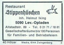 1 Altes Gasthausetikett, Restaurant Stippenhüschen, Inh. Helmut Iking, 5090 Leverkusen-Opladen, Altstadtstr. 89 #934c - Matchbox Labels