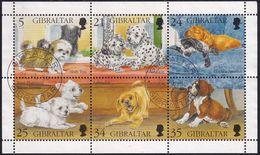 GIBRALTAR 1996 SG #761-66 Sheetlet Used Puppies - Gibraltar