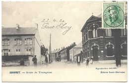 Souvret – Route De Trazegnies – Year 1920 – Stamp 5 C King Albert In Trench Helmet - Belgique