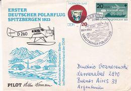 ERSTER DEUTSCHER POLARFLUG SPITZBERGEN 1923. ALLEMAGNE DDR SPC ANNEE 1983, CIRCULEE A ARGENTINE -LILHU - Polar Flights