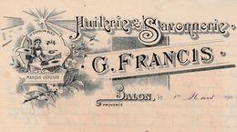 Facture 1905 / G. FRANCIS / Huilerie Savonnerie / Huile D'olive / 13 Salon De Provence BDR - France