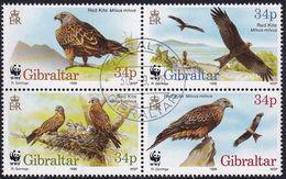 GIBRALTAR 1996 SG #784-87 Compl.set In A Block Of 4 Used Endangered Species. Red Kite - Gibraltar