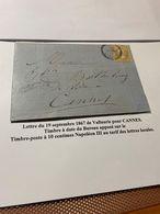 LETTRE DU 19/09/1867 DE VALLAURIS  Pour  CANNES -  Timbre à Date Apposé Sur Le Timbre à 10c -  DESCRIPTIF GENERAL SCAN - Marcophilie (Lettres)