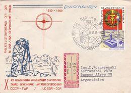 10 JAHRE GEMEINSAME ANTARKT ISFORSCHUNG, UDSSR - DDR. ALLEMAGNE SPC 1969, CIRCULEE A ARGENTINE -LILHU - Research Programs