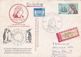 GEORG FORSTER, TEILNEHMER AN DER WELTREISE VON JAMES COOK. ALLEMAGNE SPC 1979, CIRCULEE A ARGENTINE -LILHU - Polar Exploradores Y Celebridades