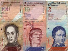 VENEZUELA 2/10/100 BOLIVARES    Circ. - Venezuela