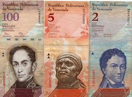 VENEZUELA 2/5/100 BOLIVARES    Circ. - Venezuela