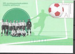 POLAND, 2019, MINT POSTAL STATIONERY, PREPAID POSTCARD, 100 YEARS OF POLISH SPORTS UNIONS, FOOTBALL - Otros