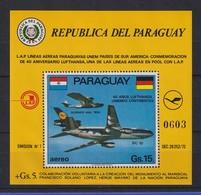Paraguay 1974 Blockausgabe 40 Jahre Lufthansa Mi.-Nr. Block 226 ** - Paraguay