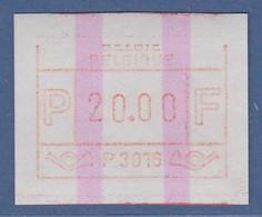 ATM Belgien ENDSTREIFEN-ATM P3016 ** In Porto-Wertstufe 20.00 BFr.  - Postage Labels