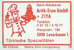 1 Altes Gasthausetikett, Sark-Bäckerei, Artik-Erun GmbH + Ziya, 5090 Leverkusen 1, Hauptstr. 120 #936 - Cajas De Cerillas - Etiquetas