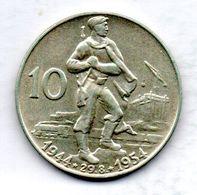 CZECHOSLOVAKIA, 10 Korun, Silver, Year 1954, KM #40 - Tchécoslovaquie