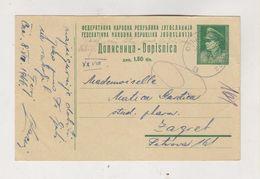 YUGOSLAVIA 1946 AMB-TRAIN Cancel OSIJEK-ZAGREB Postal Stationery - Storia Postale