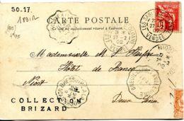 N°1891 R -cachet Convoyeur -Bressuire à La Roche Sur Yon -Breuil Barret à Velluire  -RRR- - Marcophilie (Lettres)