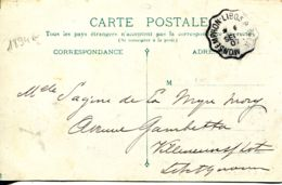 N°1894 R -cachet Convoyeur -Monsempron Libos à Agen -1907- - Spoorwegpost