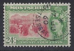 "MONTSERRAT.....QUEEN ELIZABETH II.(1952-NOW..)..."" 1953.."".....24c.......SG145......CDS.....VFU. - Montserrat"