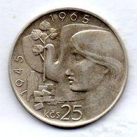 CZECHOSLOVAKIA, 25 Korun, Silver, Year 1965, KM #59 - Tchécoslovaquie