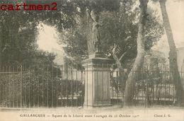 GALLARGUES SQUARE DE LA LIBERTE AVANT L'OURAGAN DU 16 OCTOBRE 1907 GARD - Gallargues-le-Montueux