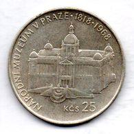 CZECHOSLOVAKIA, 25 Korun, Silver, Year 1968, KM #64 - Tchécoslovaquie