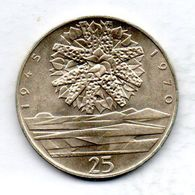 CZECHOSLOVAKIA, 25 Korun, Silver, Year 1970, KM #69 - Tchécoslovaquie