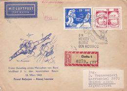 EIN MENSCH BETRAT DEN KOSMOS. DDR ALLEMAGNE SPC ANNEE 1965 CIRCULEE GOTHA -LILHU - FDC & Commemoratives