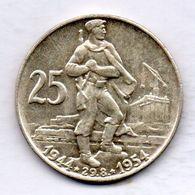 CZECHOSLOVAKIA, 25 Korun, Silver, Year 1954, KM #41 - Tchécoslovaquie