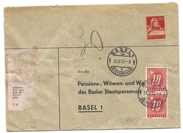 104 - 64 - Enveloppe Avec Deux Timbres Taxe Basel 1950 - Portomarken